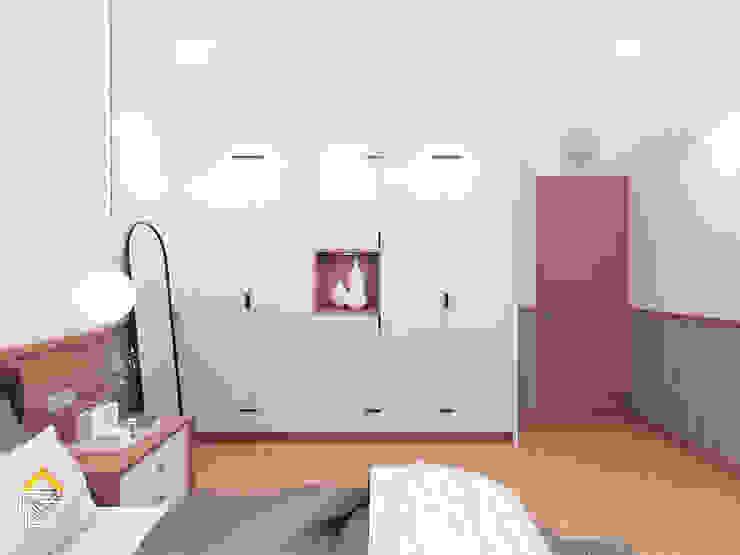 北欧スタイルの 寝室 の JRY Atelier 北欧 合板(ベニヤ板)