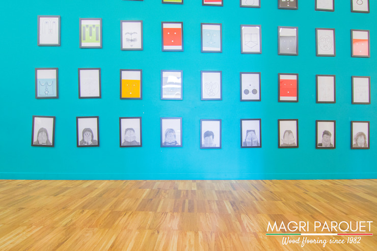 Magri Parquet Modern Corridor, Hallway and Staircase Turquoise