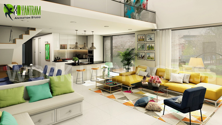 3D Interior Open Kitchen with Living Room Rendering Services ...