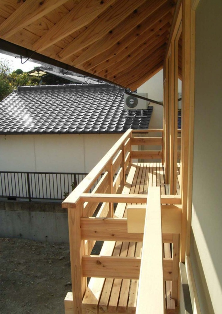 Asian style balcony, porch & terrace by 一級建築士事務所 ネストデザイン Asian Wood Wood effect