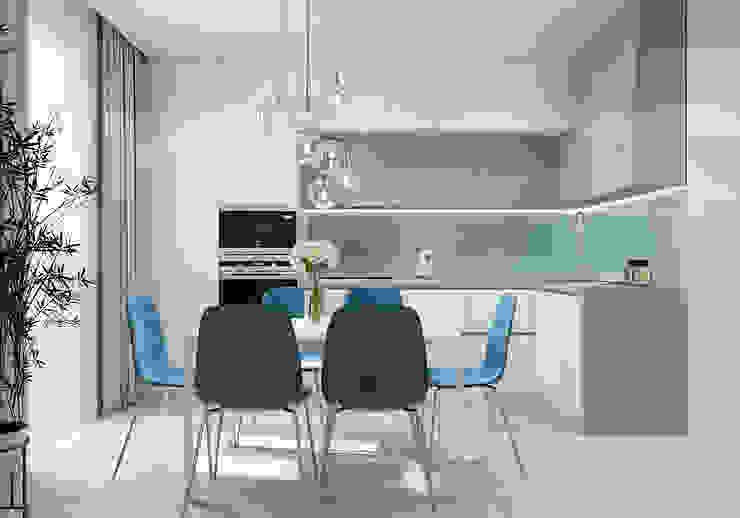 Дизайн - проект двухкомнатной квартиры 60 кв.м. Москва CUBE INTERIOR Кухня в скандинавском стиле