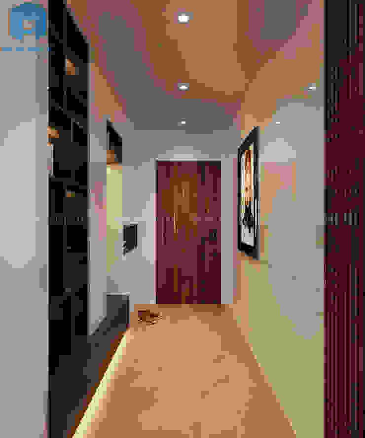 Hành lang nhỏ của căn hộ Công ty TNHH Nội Thất Mạnh Hệ Hành lang, sảnh & cầu thang phong cách hiện đại Wood effect