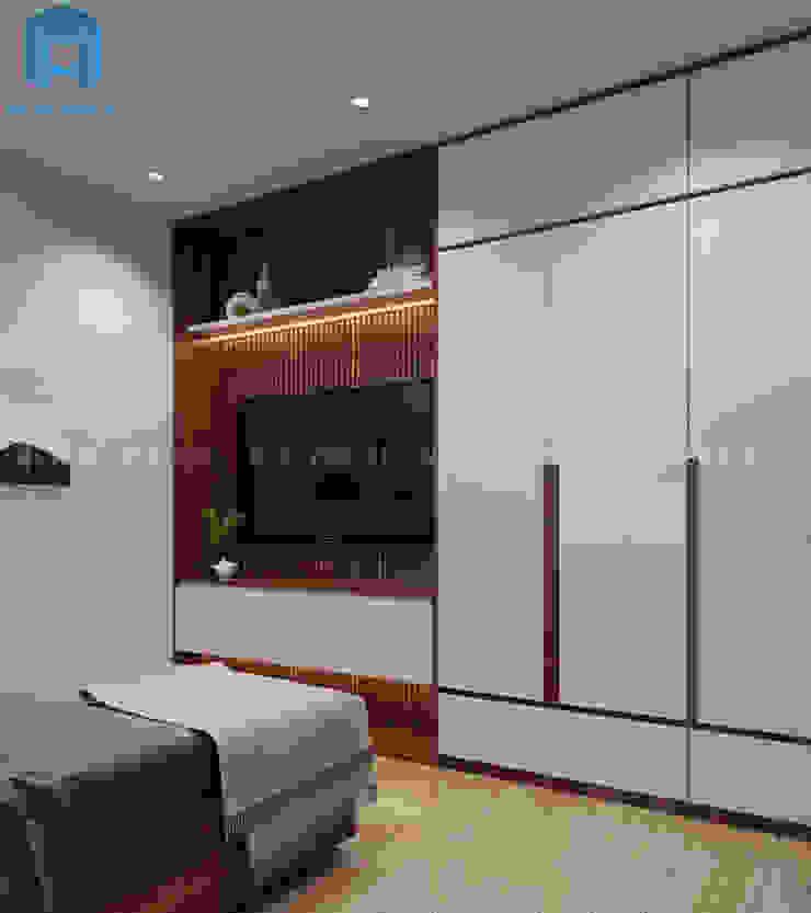Nội thất phòng ngủ master Công ty TNHH Nội Thất Mạnh Hệ Phòng ngủ phong cách hiện đại Wood effect