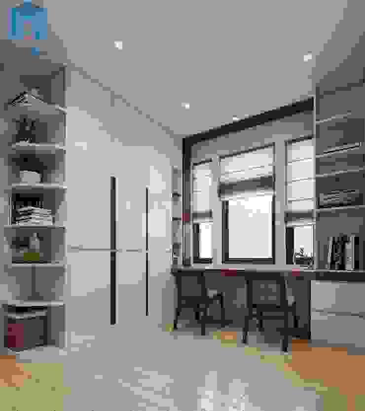 Không gian phòng ngủ nhỏ cho các con được bố trí khá gọn gàng với hệ thống bàn học cùng tủ đựng đồ Công ty TNHH Nội Thất Mạnh Hệ Phòng ngủ nhỏ Wood effect