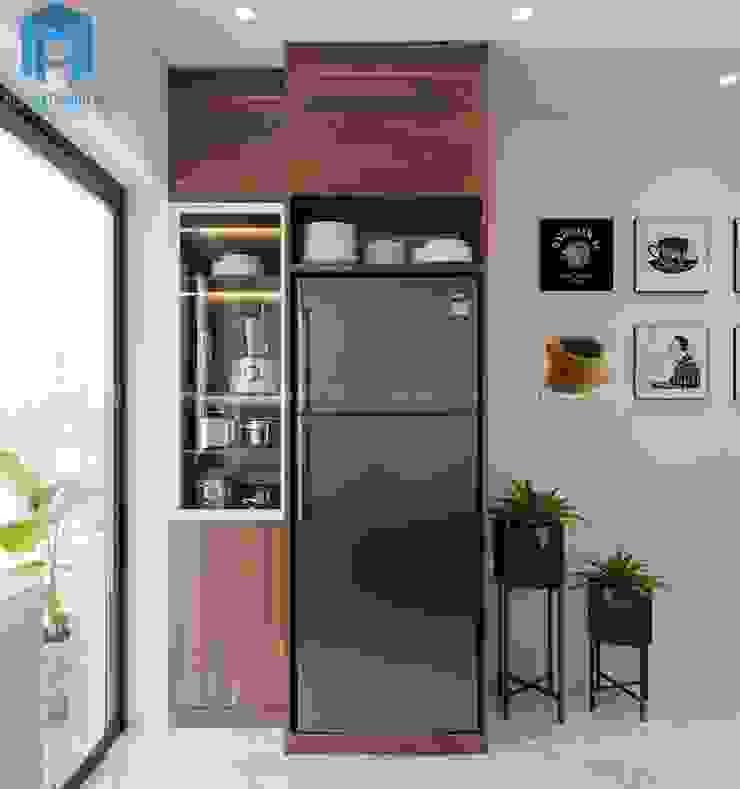 Khung gỗ tự nhiên được thiết kế dành cho tủ lạnh Công ty TNHH Nội Thất Mạnh Hệ Phòng ăn phong cách hiện đại Wood effect