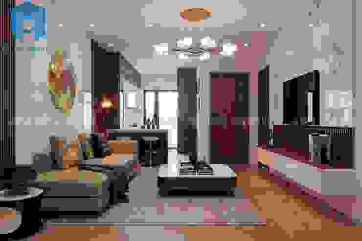 Nội thất phòng khách khá sang trọng và hiện đại Công ty TNHH Nội Thất Mạnh Hệ Phòng khách Wood effect