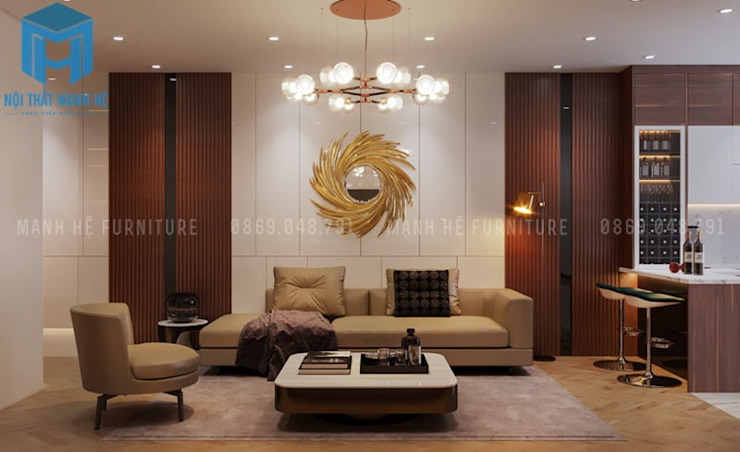 Bộ ghế sofa nệm khung gỗ màu vàng nhạt được đặt nhay trung tâm của căn phòng Công ty TNHH Nội Thất Mạnh Hệ Phòng khách Wood effect