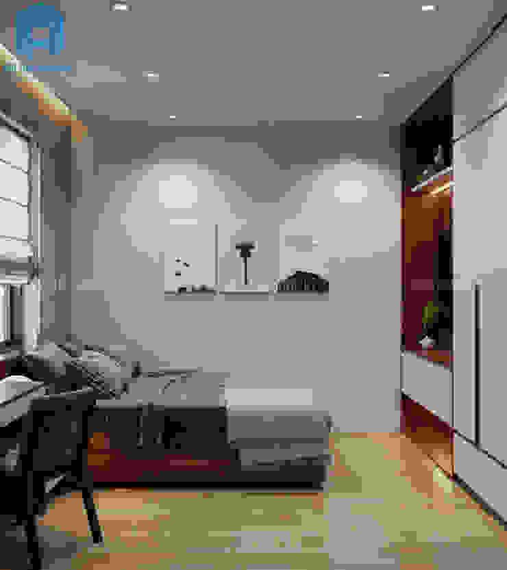 Nội thất phòng ngủ master khá đơn giản với tủ đựng đồ, giường ngủ, bàn trang điểm cùng 3 bức tranh nghệ thuật treo trên tường Công ty TNHH Nội Thất Mạnh Hệ Phòng ngủ phong cách hiện đại Wood effect