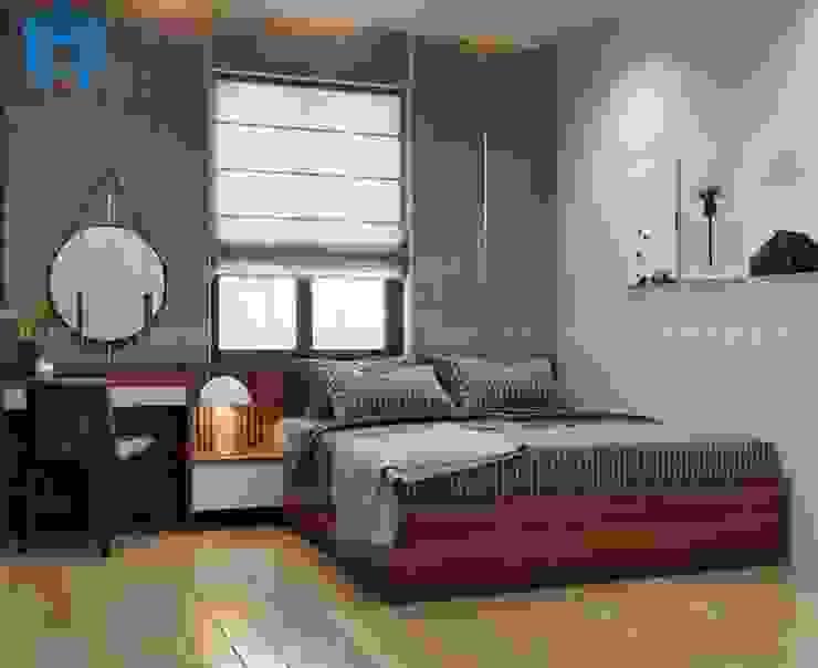 Phòng ngủ master được bố trí chiếc giường ngủ bằng gỗ tự nhiên khá thân thiện với ngôi nhà Công ty TNHH Nội Thất Mạnh Hệ Phòng ngủ phong cách hiện đại Wood effect