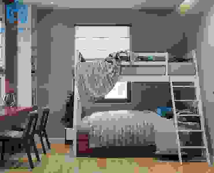 Giường tầng màu trắng khá tinh tế được chọn làm vật dụng nội thất cho căn phòng ngủ nhỏ dành cho các con Công ty TNHH Nội Thất Mạnh Hệ Phòng ngủ nhỏ Wood effect