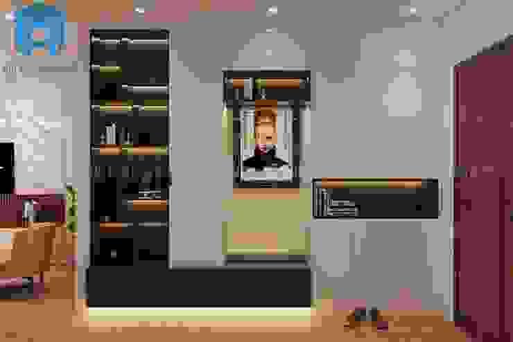 Phòng khách được bố trí thêm tủ và kệ trang trí Công ty TNHH Nội Thất Mạnh Hệ Phòng khách White