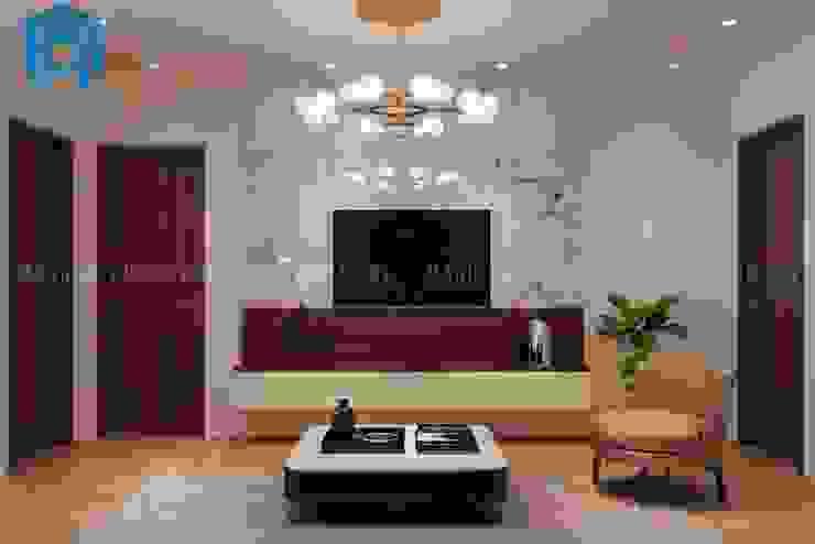 Không gian phòng khách khá hiện đại và tinh tế Công ty TNHH Nội Thất Mạnh Hệ Phòng khách White