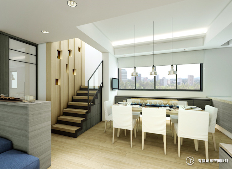 現代風格餐廳設計 Modern kitchen by 有關創意室內設計 Modern