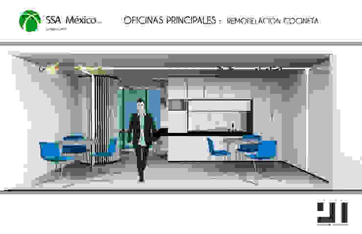 Vista frontal propuesta cocineta: Oficinas y tiendas de estilo  por Prototype studio,