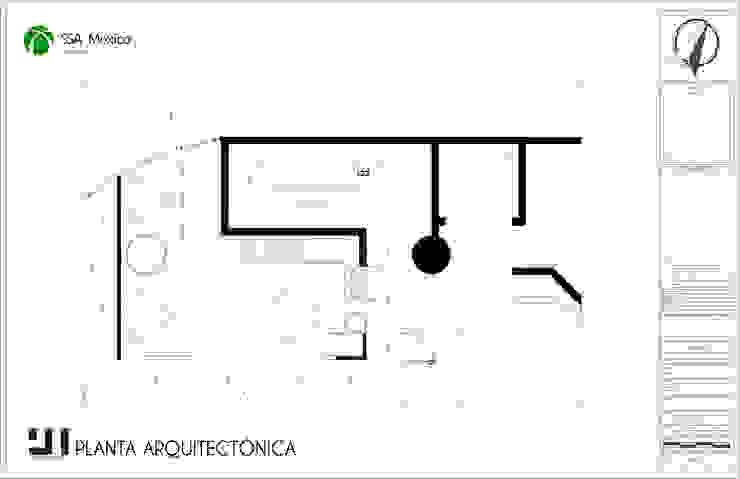 Distribución propuesta cocineta: Oficinas y tiendas de estilo  por Prototype studio,