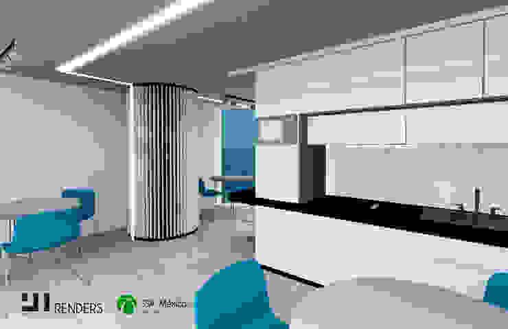 Vista interior cocina: Oficinas y tiendas de estilo  por Prototype studio,