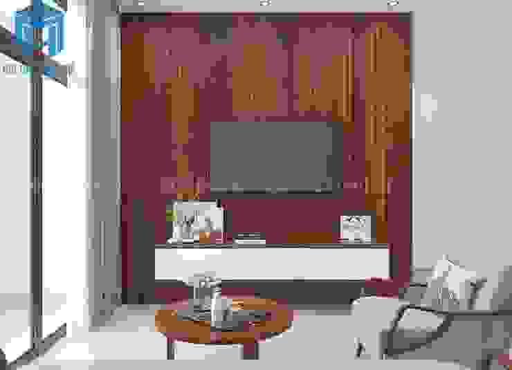 vách tường được ốp bằng gỗ tự nhiên khá hiện đại bởi Công ty TNHH Nội Thất Mạnh Hệ Hiện đại
