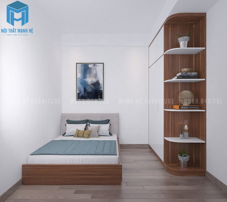 nội thất phòng ngủ nhỏ gọn và tinh tế bởi Công ty TNHH Nội Thất Mạnh Hệ Hiện đại