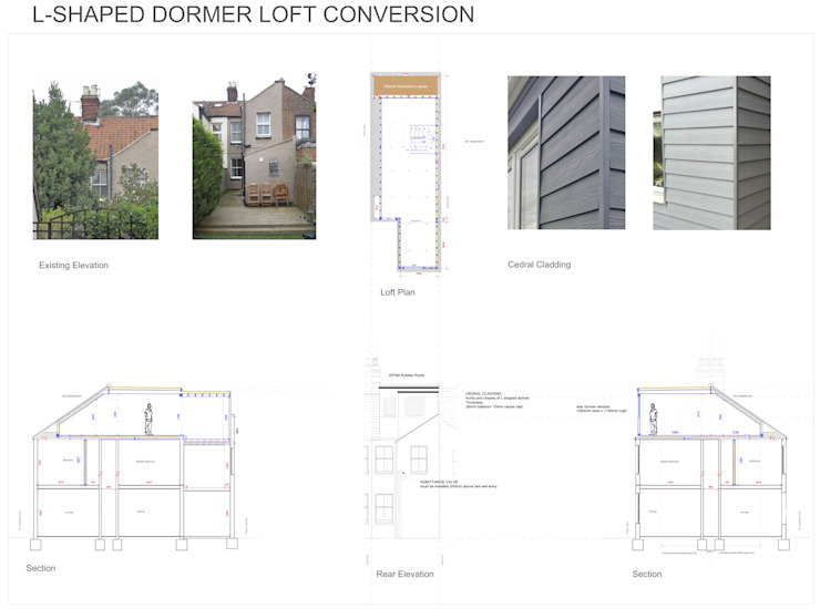 L-Shaped Dormer Loft Conversion NR2 3NW Cuartos de estilo moderno de Paul D'Amico Remodels Moderno