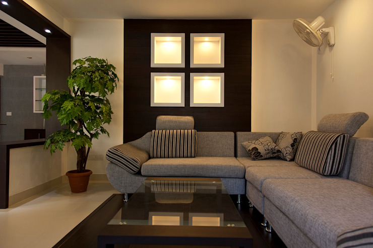 Dr Saji house Modern living room by S Squared Architects Pvt Ltd. Modern