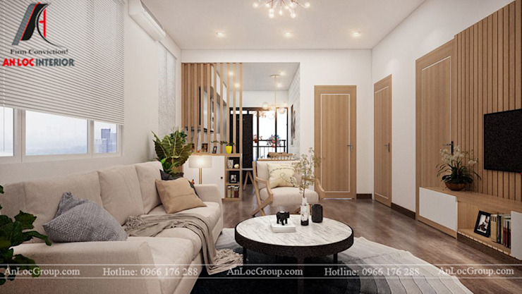 2 bedroom apartment in Kosmo Tay Ho beautiful view to detail Modern living room by Nội Thất An Lộc Modern