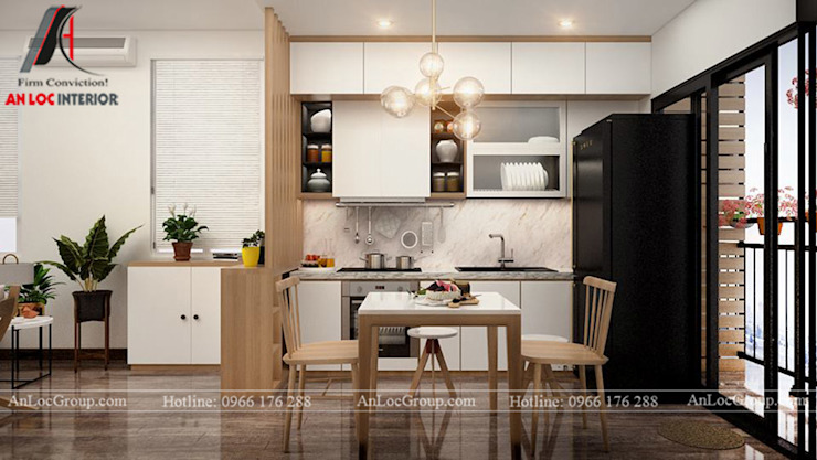 2 bedroom apartment in Kosmo Tay Ho beautiful view to detail Modern kitchen by Nội Thất An Lộc Modern