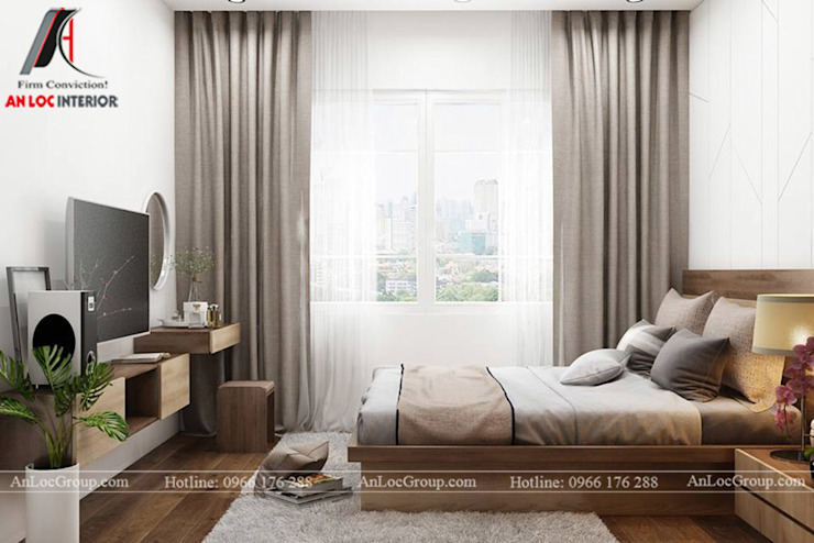 2 bedroom apartment in Kosmo Tay Ho beautiful view to detail Modern style bedroom by Nội Thất An Lộc Modern