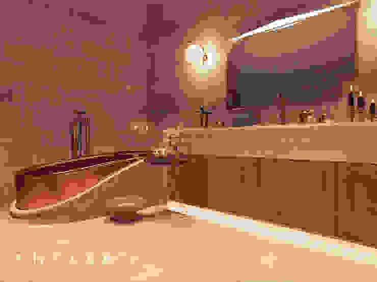 Antler İç Mimarlık – Nevşehir - Konut Projesi:  tarz Banyo, Kırsal/Country Bakır/Bronz/Pirinç