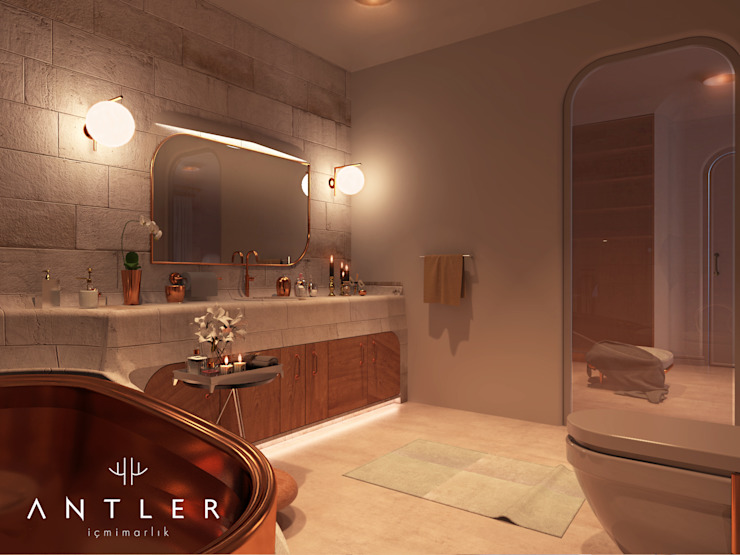 Country style bathroom by Antler İç Mimarlık Country Copper/Bronze/Brass