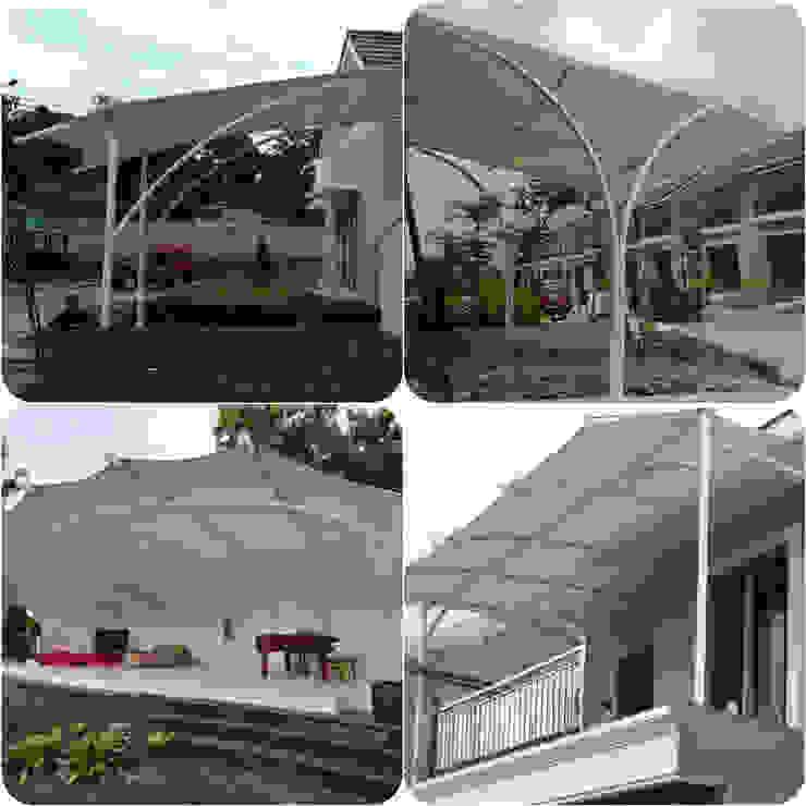 Tenda membrane sebagai estetika bangunan:modern  oleh Eazy Hurip Sentosa, Modern Bahan Sintetis Brown