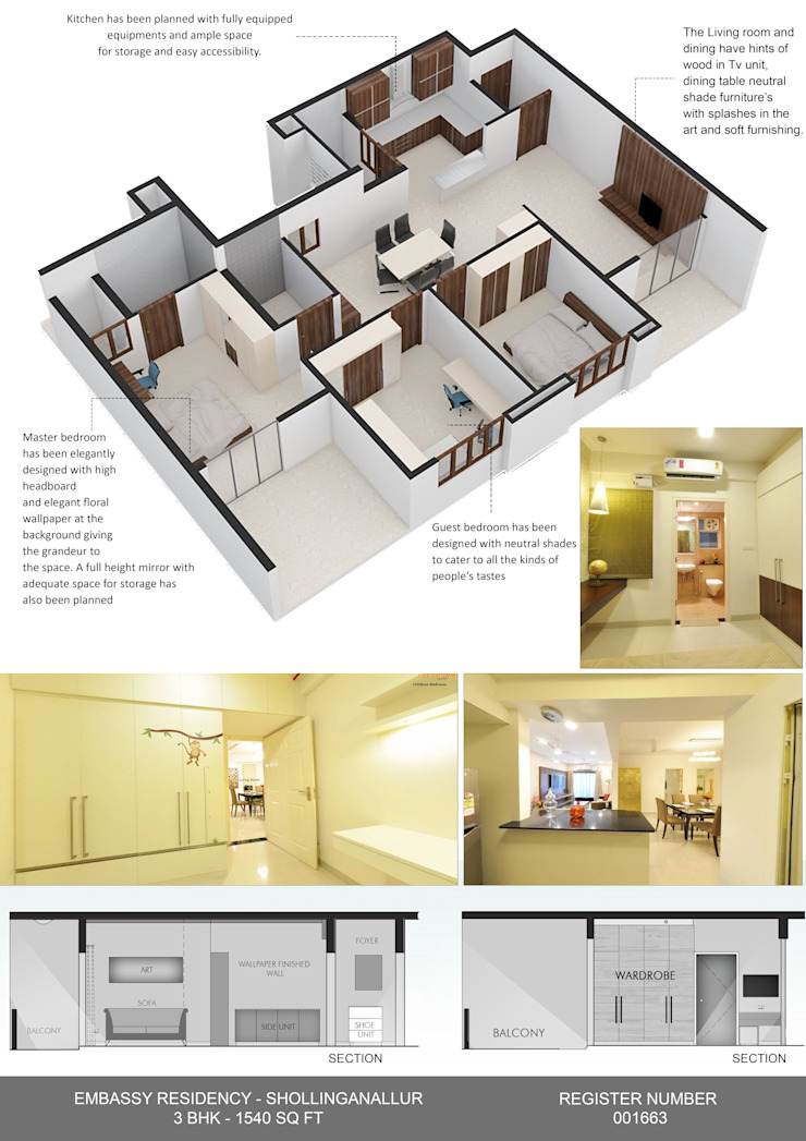 Three BHK—Model Apartment—Embassy Residency—Chennai by Uncut Design Lab