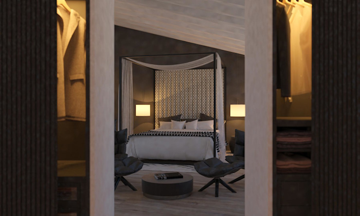 Carre de Sol, Palma Eclectic style bedroom by 4D Studio Architects and Interior Designers Eclectic