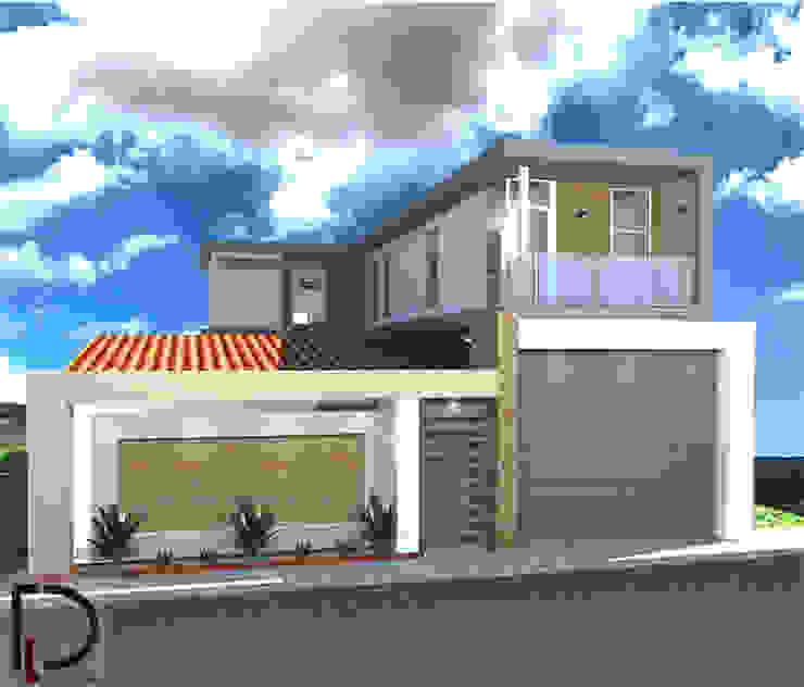 VISTA FRONTAL de DECOESCALA ARQ JHON LEAL Rural Concreto