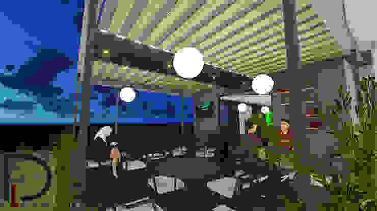 TERRAZA Balcones y terrazas de estilo moderno de DECOESCALA ARQ JHON LEAL Moderno Derivados de madera Transparente