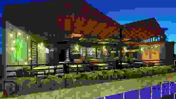 VISTA LATERAL Balcones y terrazas de estilo moderno de Analieth Reyes - Arquitectura y Diseño Moderno Piedra