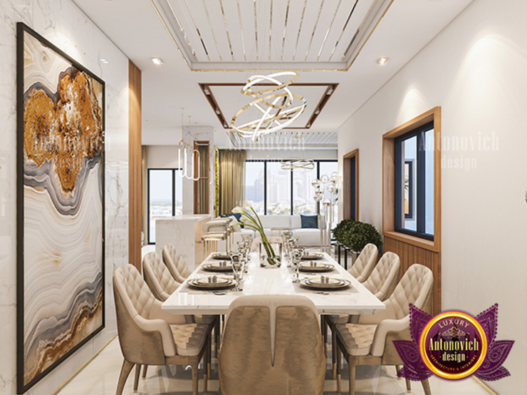 Modern Luxurious Dining Area by Luxury Antonovich Design