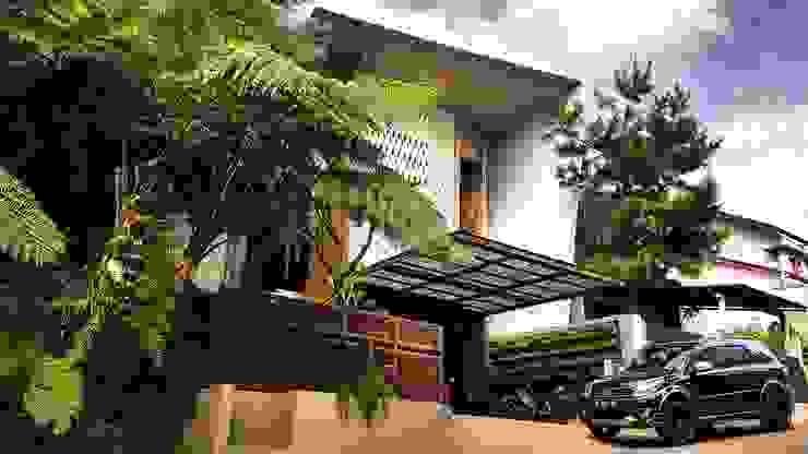 Facade rumah bergaya tropis kontemporer Oleh Mandalananta Studio Tropis Batu Bata