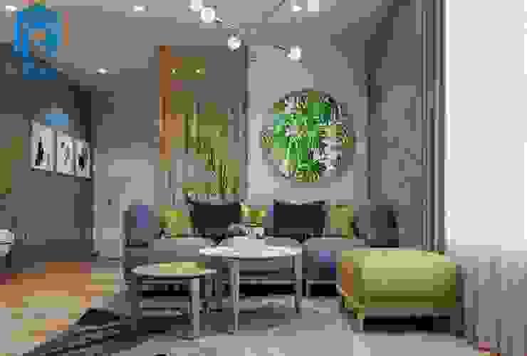 Bộ sofa phòng khách nổi bật cùng những vật dụng trang trí trong từng góc cạnh bởi Công ty TNHH Nội Thất Mạnh Hệ Hiện đại