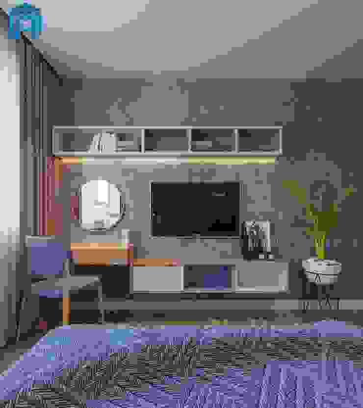Một chiếc bàn trang điểm kết hợp với kệ tivi và kệ trang trí đặc trưng Phòng ngủ phong cách hiện đại bởi Công ty TNHH Nội Thất Mạnh Hệ Hiện đại