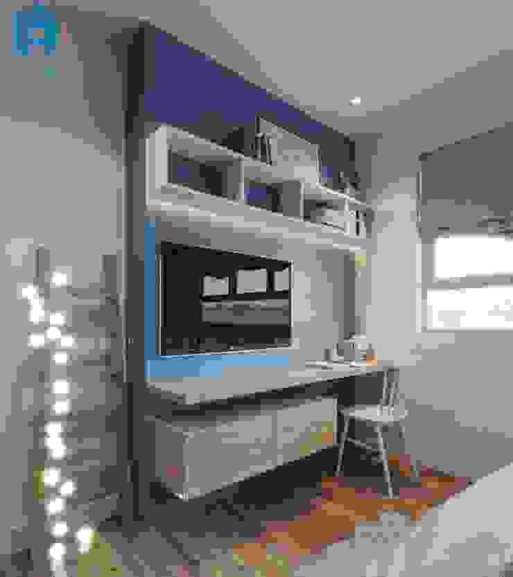 Thiết kế không gian học tập cho bé cạnh cửa sổ Phòng ngủ phong cách hiện đại bởi Công ty TNHH Nội Thất Mạnh Hệ Hiện đại