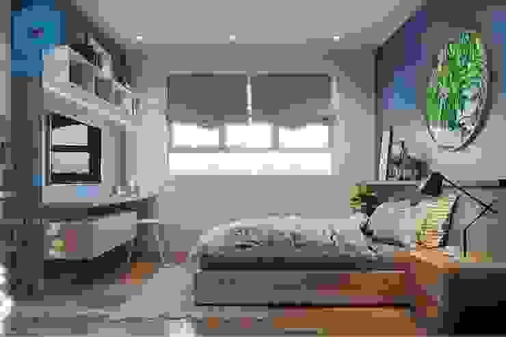 Phòng ngủ nhẹ nhàng, đón ánh sáng từ cửa sổ Phòng ngủ phong cách hiện đại bởi Công ty TNHH Nội Thất Mạnh Hệ Hiện đại
