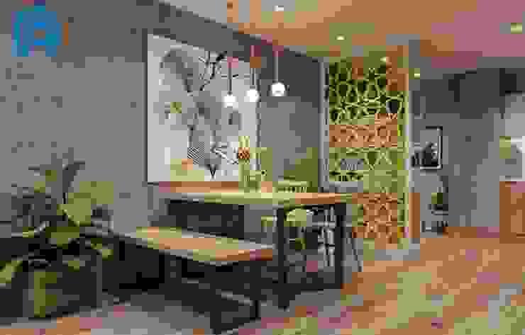 Đèn treo trang trí và tranh nghệ thuật trở thành điềm nhấn trong không gian bếp Phòng ăn phong cách hiện đại bởi Công ty TNHH Nội Thất Mạnh Hệ Hiện đại