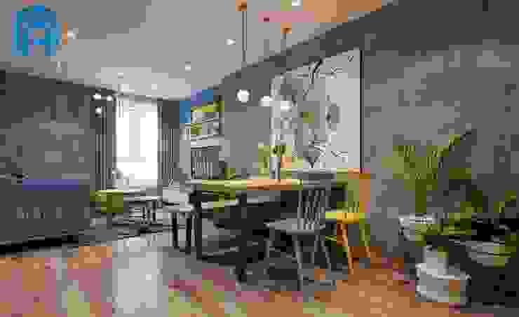 Không gian phòng khách nhìn từ bàn ăn cho cả gia đình Phòng ăn phong cách hiện đại bởi Công ty TNHH Nội Thất Mạnh Hệ Hiện đại