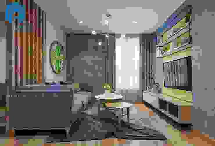 Tổng thể không gian phòng khách hiện đại sang trọng bởi Công ty TNHH Nội Thất Mạnh Hệ Hiện đại