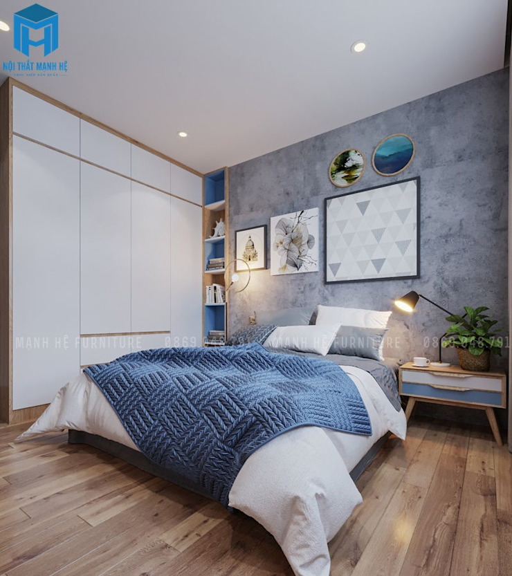 Phòng ngủ master cho gia chủ với tone xanh dương chủ đạo Phòng ngủ phong cách hiện đại bởi Công ty TNHH Nội Thất Mạnh Hệ Hiện đại