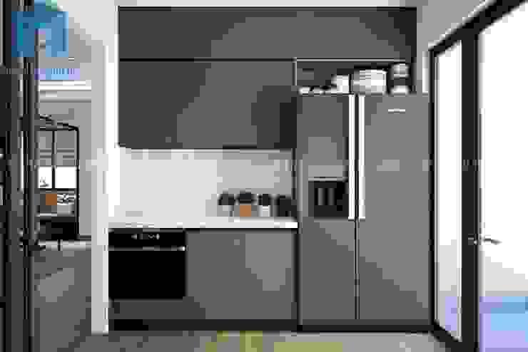 Hệ thống tủ bếp với gam màu xám - xanh khá hiện đại Nhà bếp phong cách hiện đại bởi Công ty TNHH Nội Thất Mạnh Hệ Hiện đại