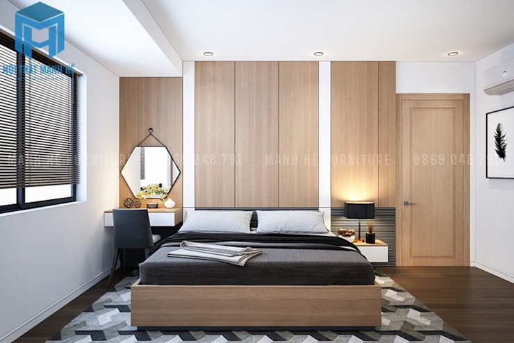 Nội thất phòng ngủ master hiện đại và sang trọng Phòng ngủ phong cách hiện đại bởi Công ty TNHH Nội Thất Mạnh Hệ Hiện đại