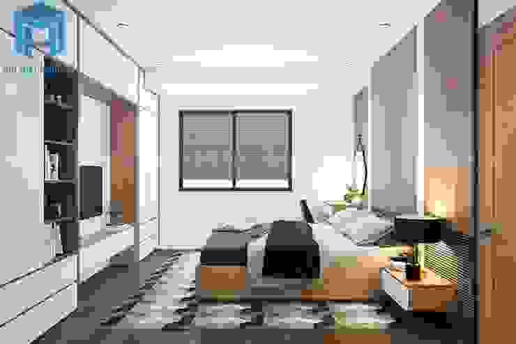 Không gian phòng ngủ master được bố trí các vật dụng nội thất khá phù hợp và có tính kết nối với nhau Phòng ngủ phong cách hiện đại bởi Công ty TNHH Nội Thất Mạnh Hệ Hiện đại