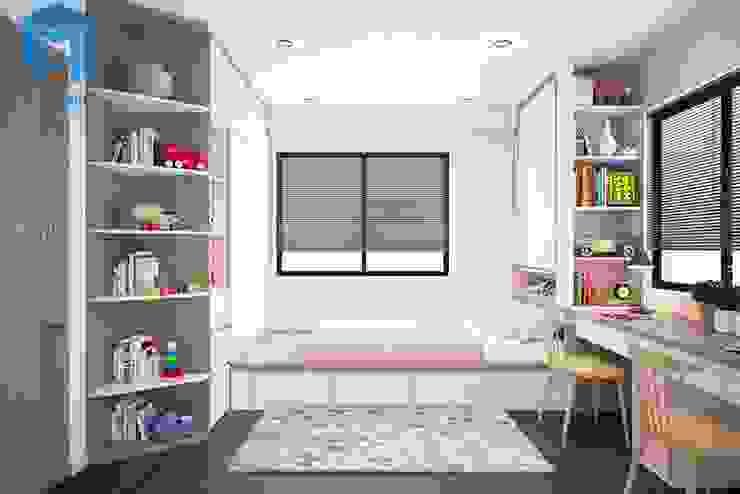 Nội thất phòng ngủ nhỏ với gam màu hồng chủ đạo Phòng ngủ phong cách hiện đại bởi Công ty TNHH Nội Thất Mạnh Hệ Hiện đại