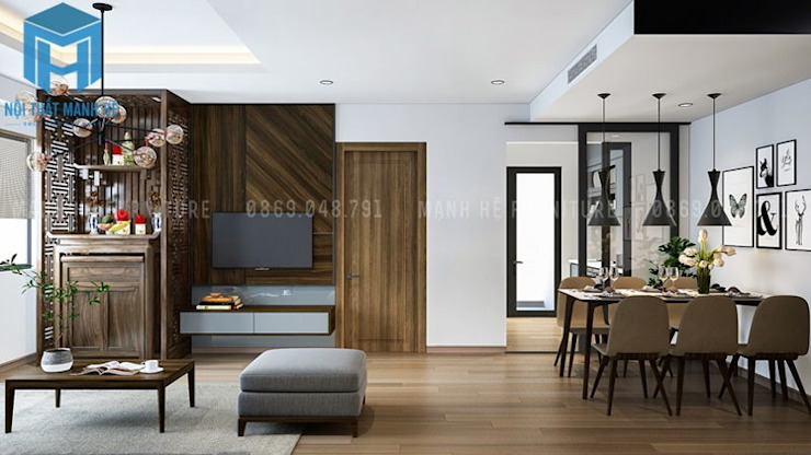 Bộ bàn ghế phòng ăn được đặt nối liền với phòng khách bởi Công ty TNHH Nội Thất Mạnh Hệ Hiện đại